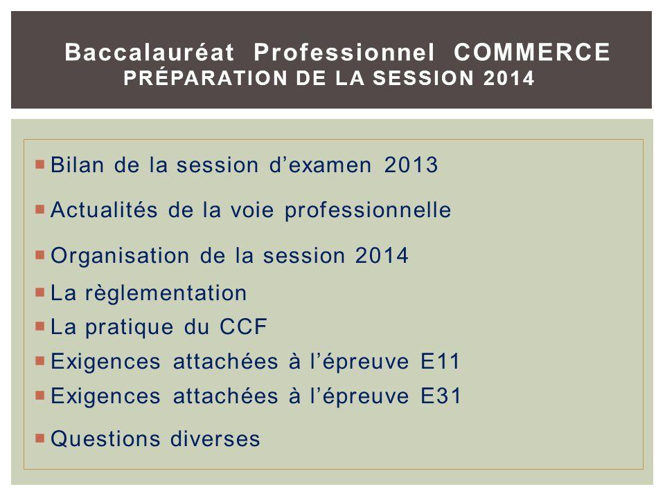 Baccalauréat Professionnel COMMERCE PRÉPARATION DE LA SESSION 2014