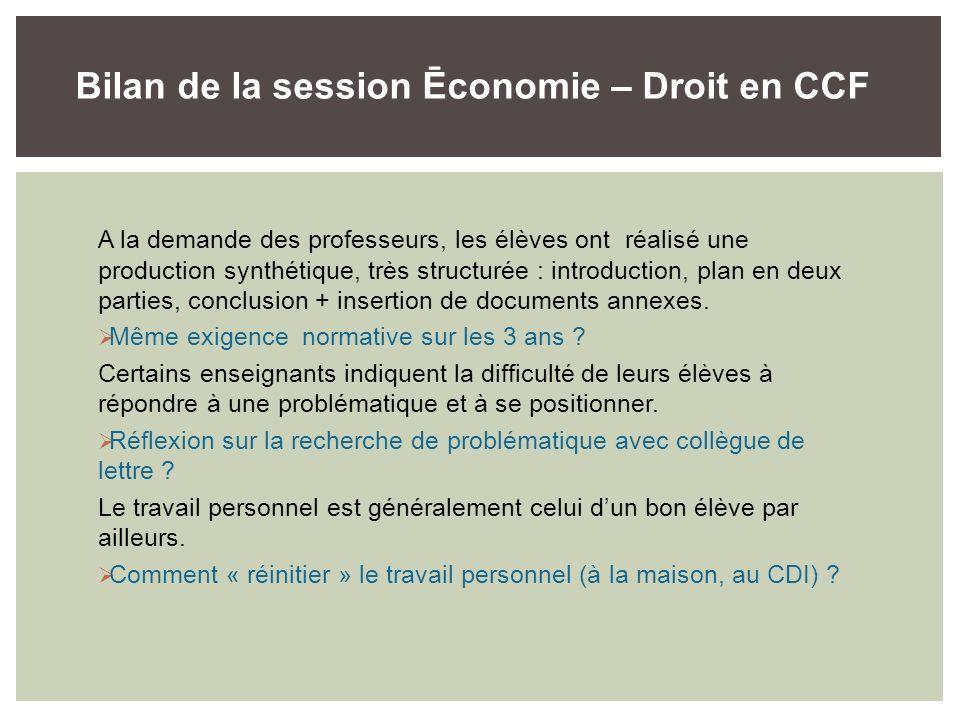 Bilan de la session Ēconomie – Droit en CCF