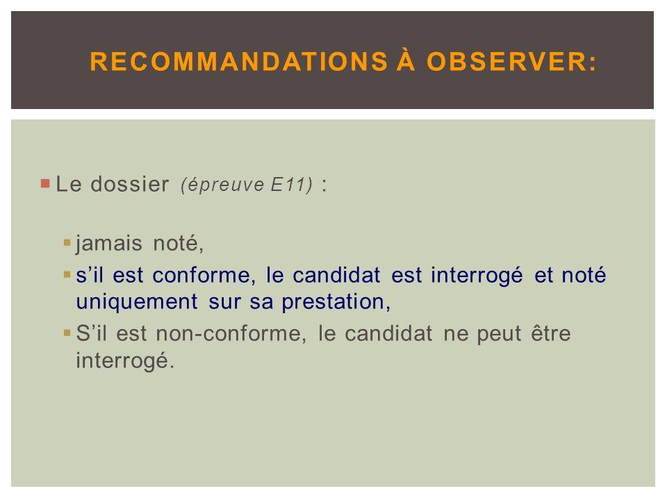 Recommandations à observer: