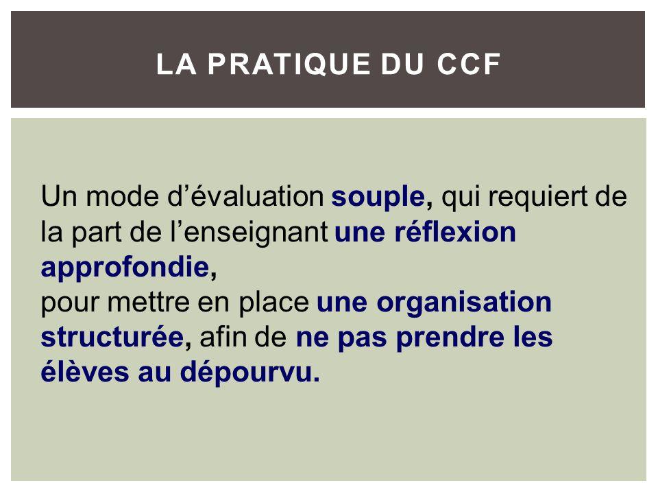 La Pratique du CCF Un mode d'évaluation souple, qui requiert de la part de l'enseignant une réflexion approfondie,
