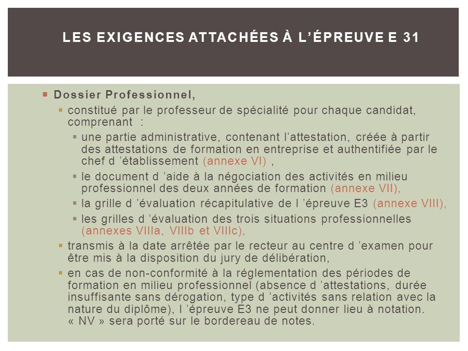 LES EXIGENCES ATTACHÉES À L'ÉPREUVE E 31