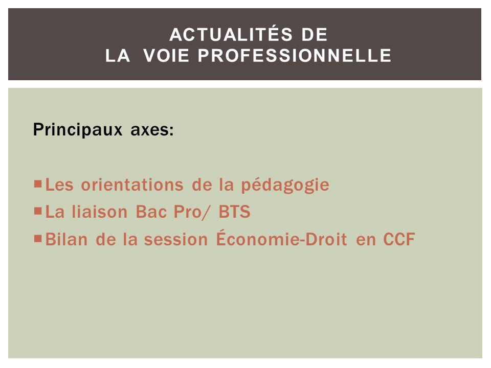 ACTUALITÉS DE LA VOIE PROFESSIONNELLE