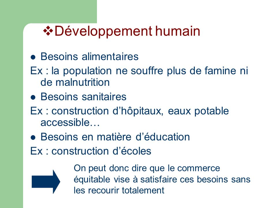 Développement humain Besoins alimentaires