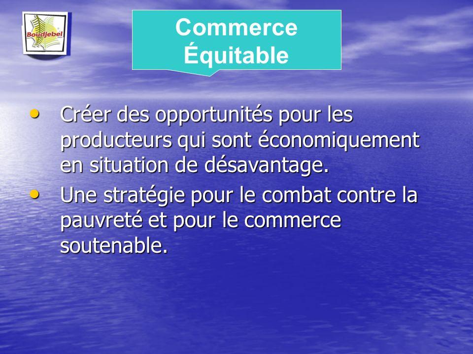 Commerce Équitable Créer des opportunités pour les producteurs qui sont économiquement en situation de désavantage.