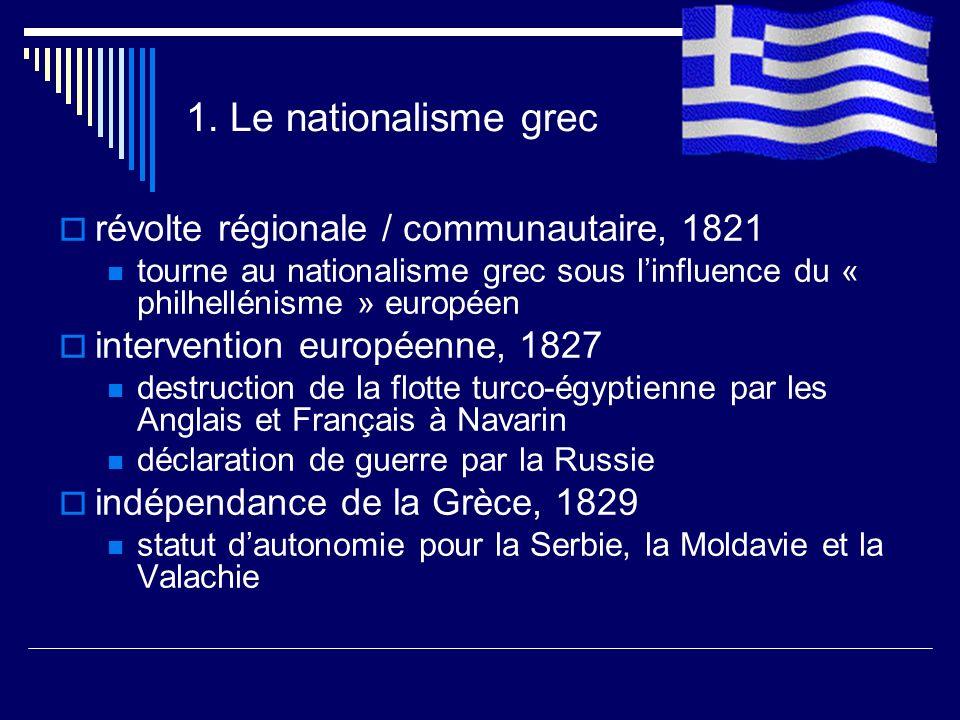 1. Le nationalisme grec révolte régionale / communautaire, 1821
