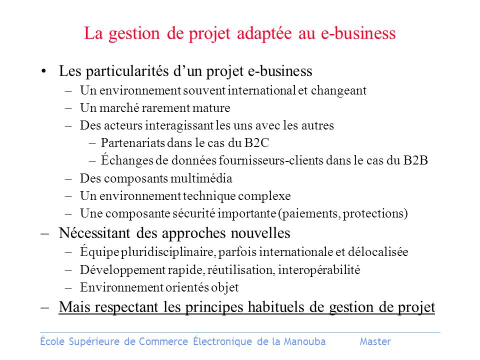 La gestion de projet adaptée au e-business