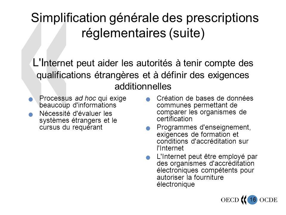 Simplification générale des prescriptions réglementaires (suite) L Internet peut aider les autorités à tenir compte des qualifications étrangères et à définir des exigences additionnelles