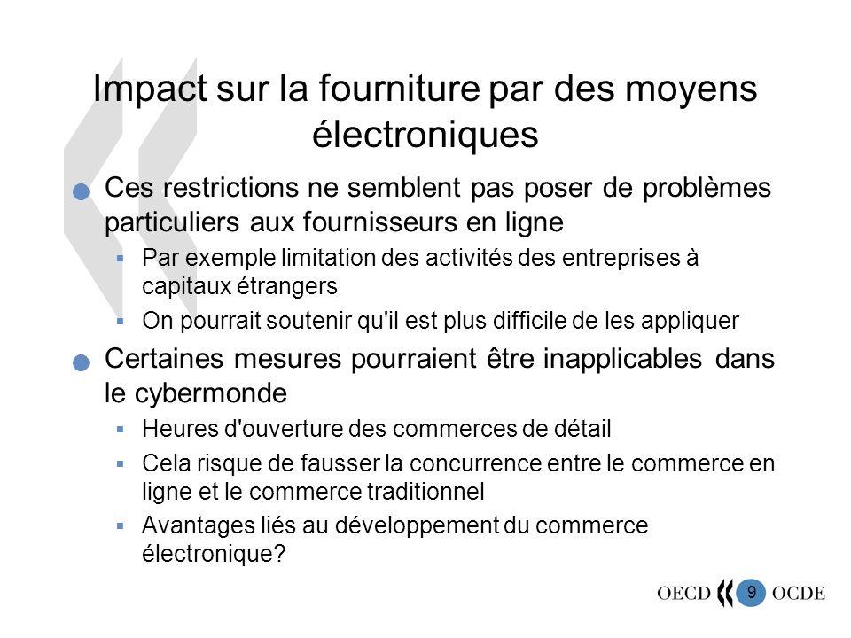 Impact sur la fourniture par des moyens électroniques