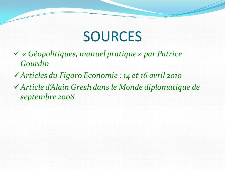 SOURCES « Géopolitiques, manuel pratique » par Patrice Gourdin