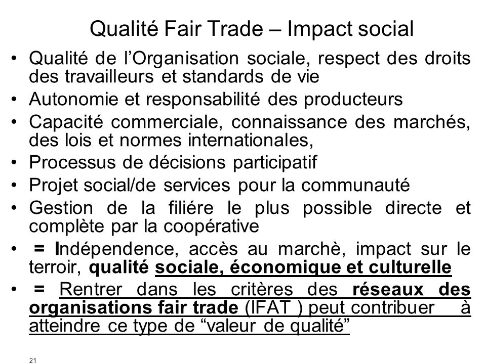 Qualité Fair Trade – Impact social