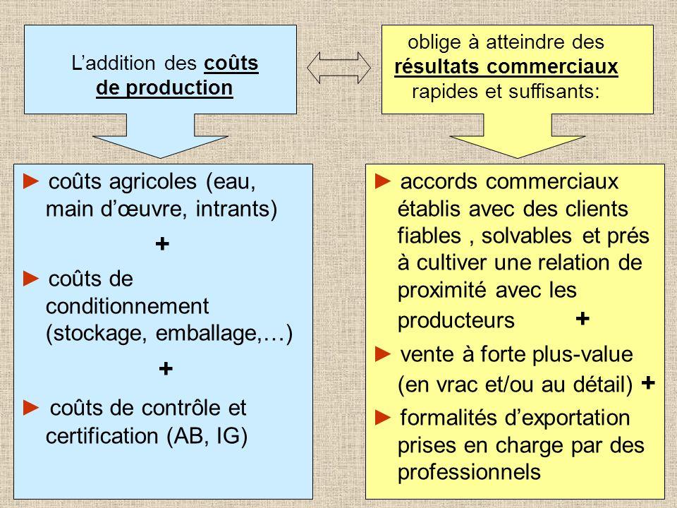 + ► coûts agricoles (eau, main d'œuvre, intrants)
