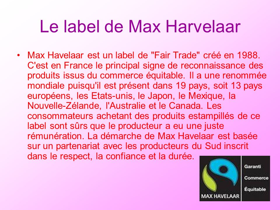 Le label de Max Harvelaar