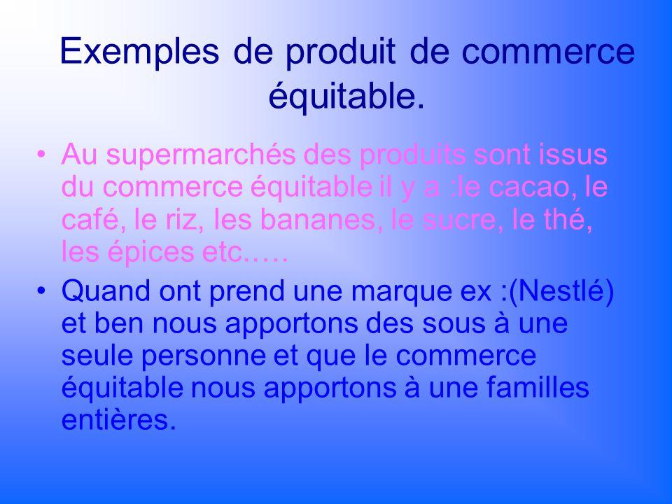 Exemples de produit de commerce équitable.