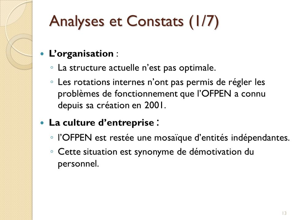 Analyses et Constats (1/7)