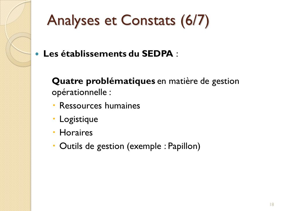 Analyses et Constats (6/7)