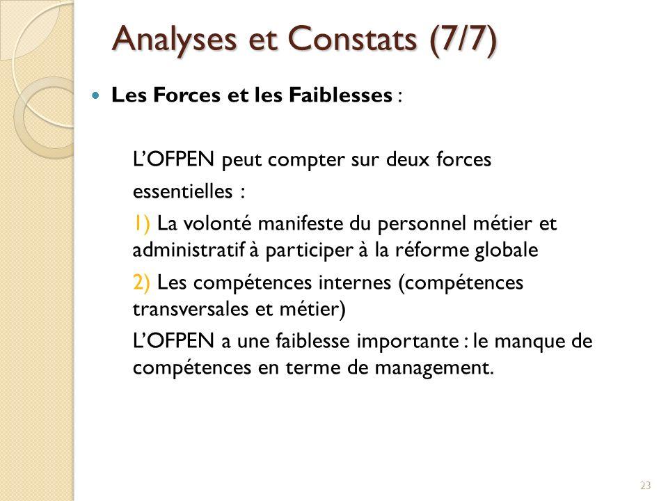 Analyses et Constats (7/7)