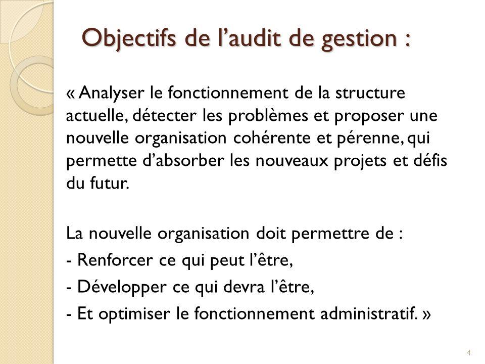 Objectifs de l'audit de gestion :