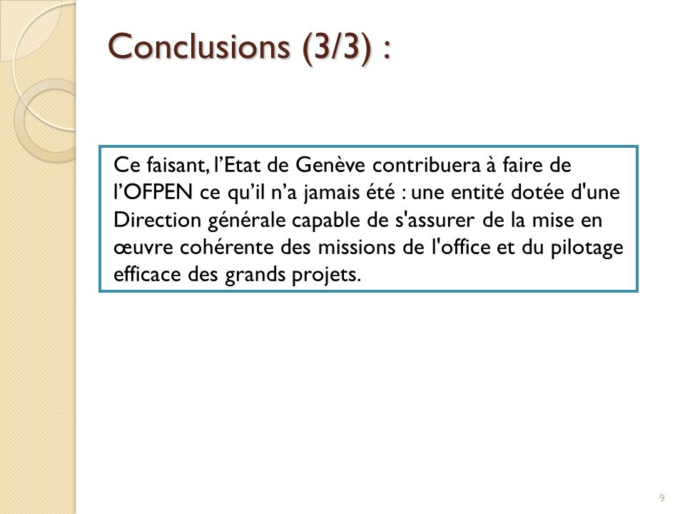 Conclusions (3/3) :