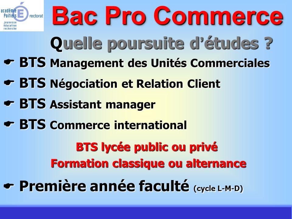 Bac Pro Commerce Quelle poursuite d'études