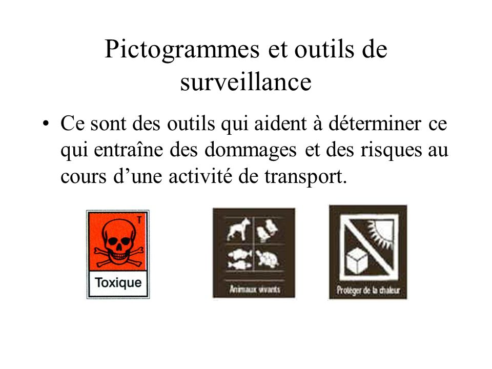Pictogrammes et outils de surveillance