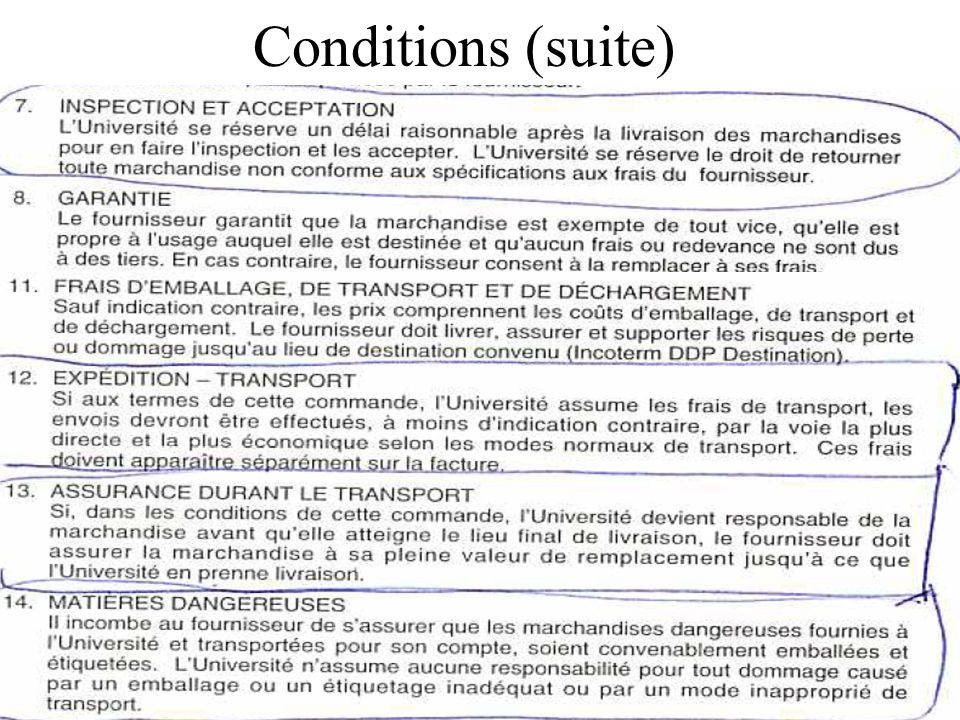 Conditions (suite)