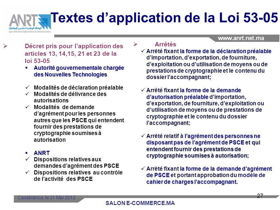 Textes d'application de la Loi 53-05