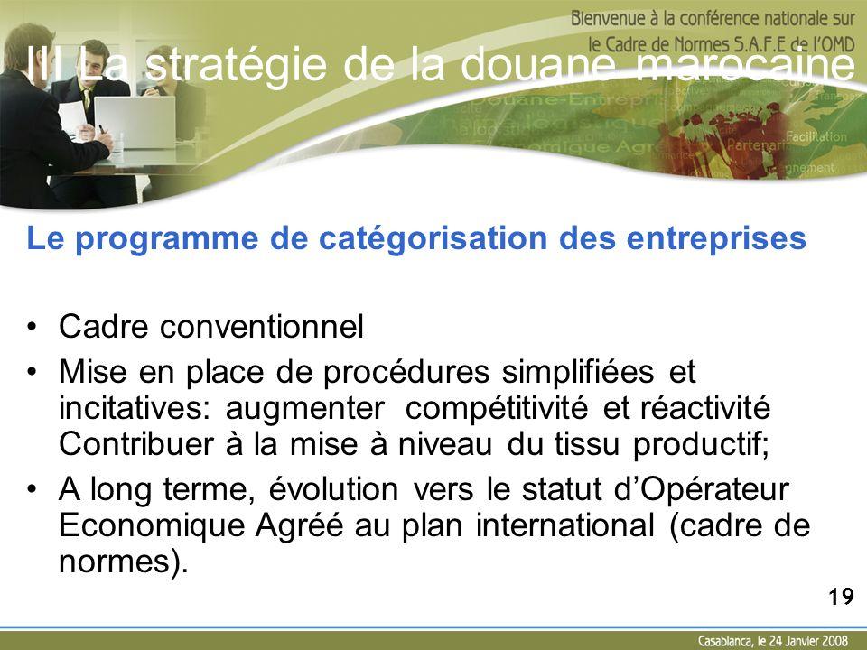 III La stratégie de la douane marocaine