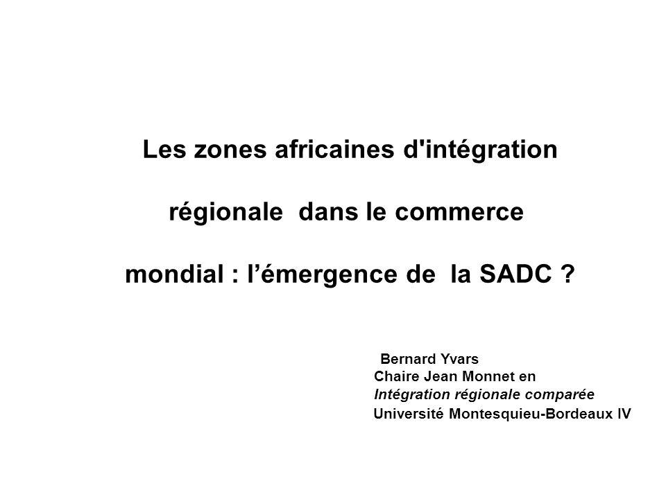 Les zones africaines d intégration régionale dans le commerce