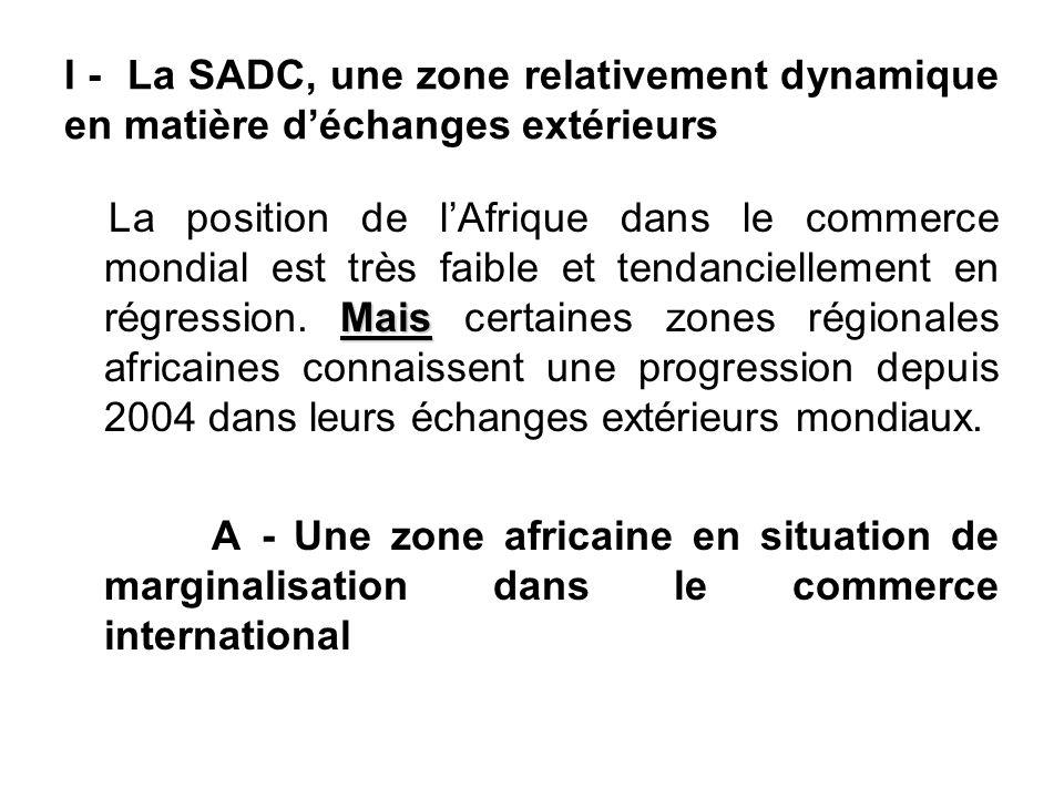 I - La SADC, une zone relativement dynamique en matière d'échanges extérieurs