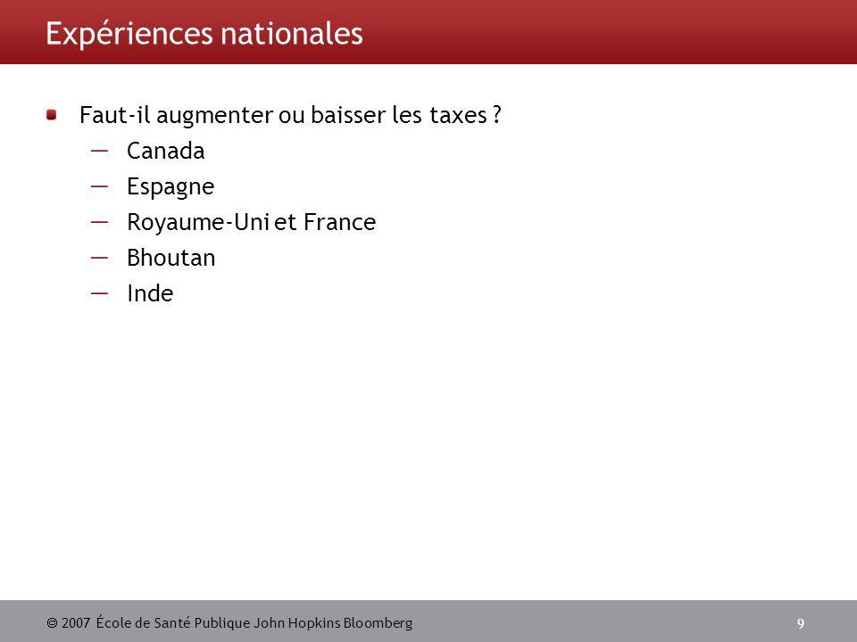 Expériences nationales
