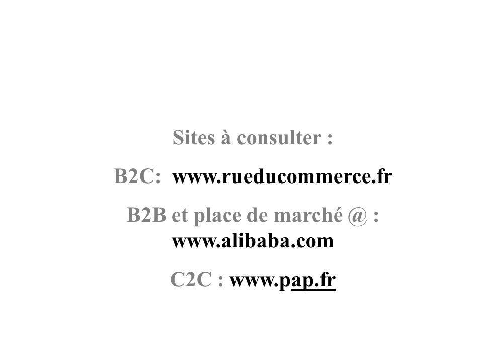 B2C: www.rueducommerce.fr B2B et place de marché @ : www.alibaba.com