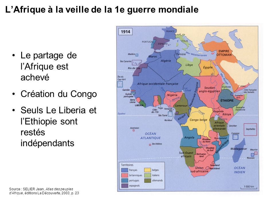 L'Afrique à la veille de la 1e guerre mondiale