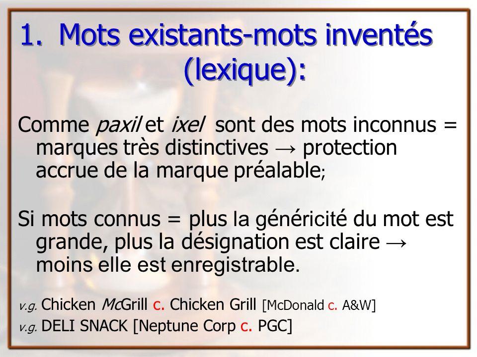 Mots existants-mots inventés (lexique):