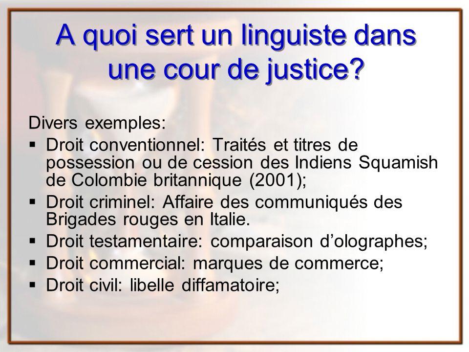 A quoi sert un linguiste dans une cour de justice