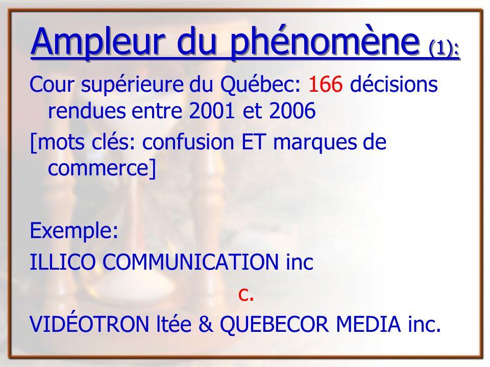 Ampleur du phénomène (1):