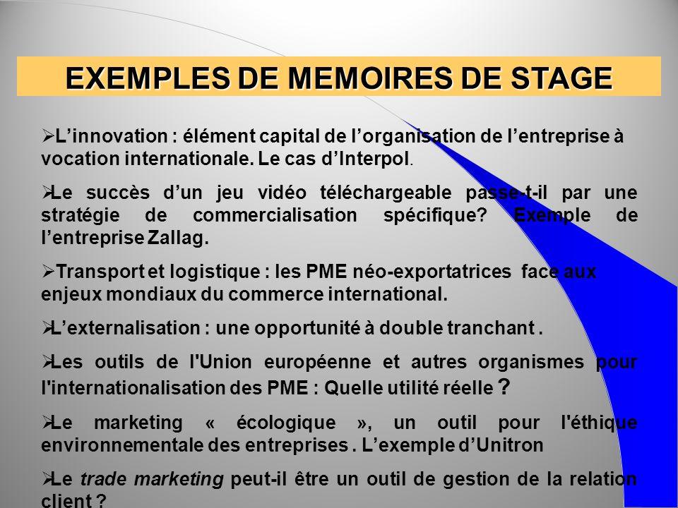 EXEMPLES DE MEMOIRES DE STAGE