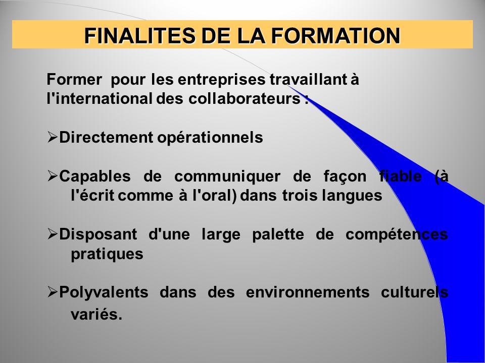 FINALITES DE LA FORMATION