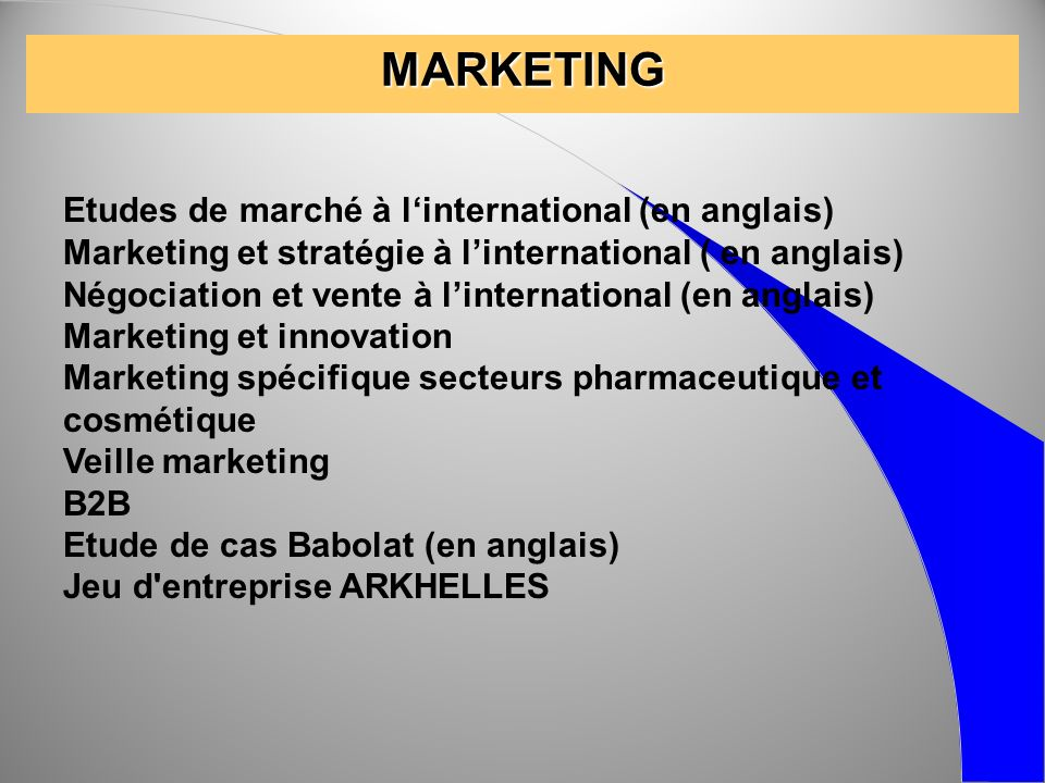 MARKETING Etudes de marché à l'international (en anglais)