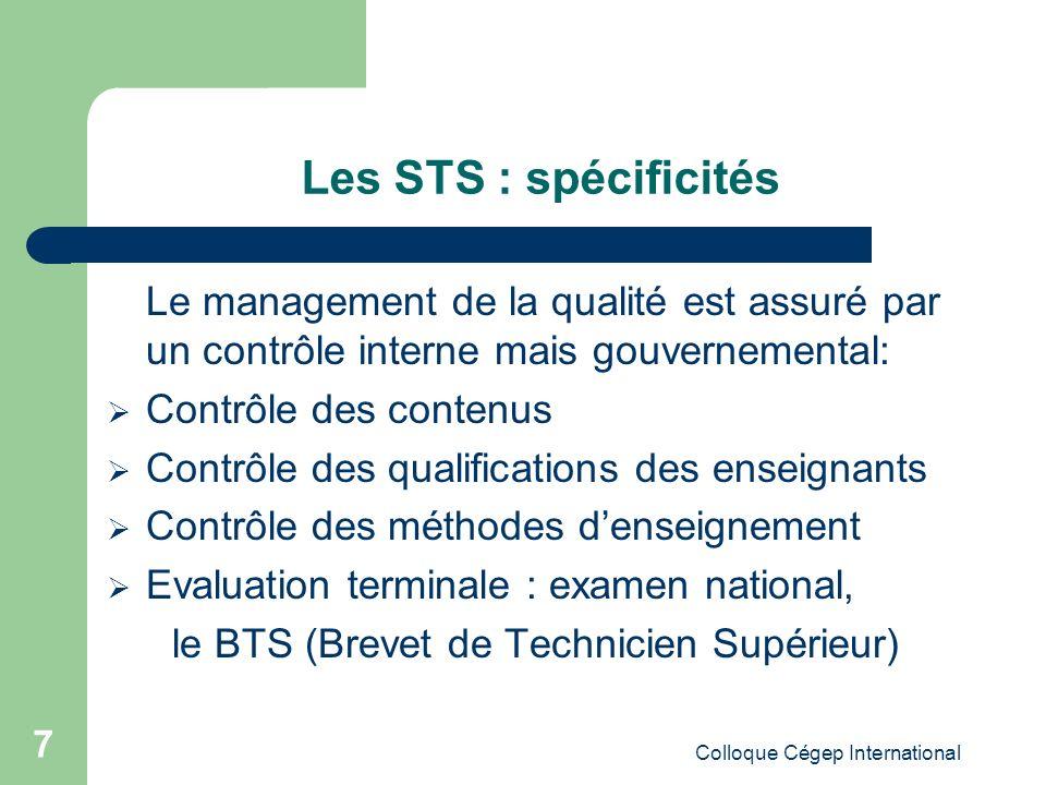 Les STS : spécificités Le management de la qualité est assuré par un contrôle interne mais gouvernemental: