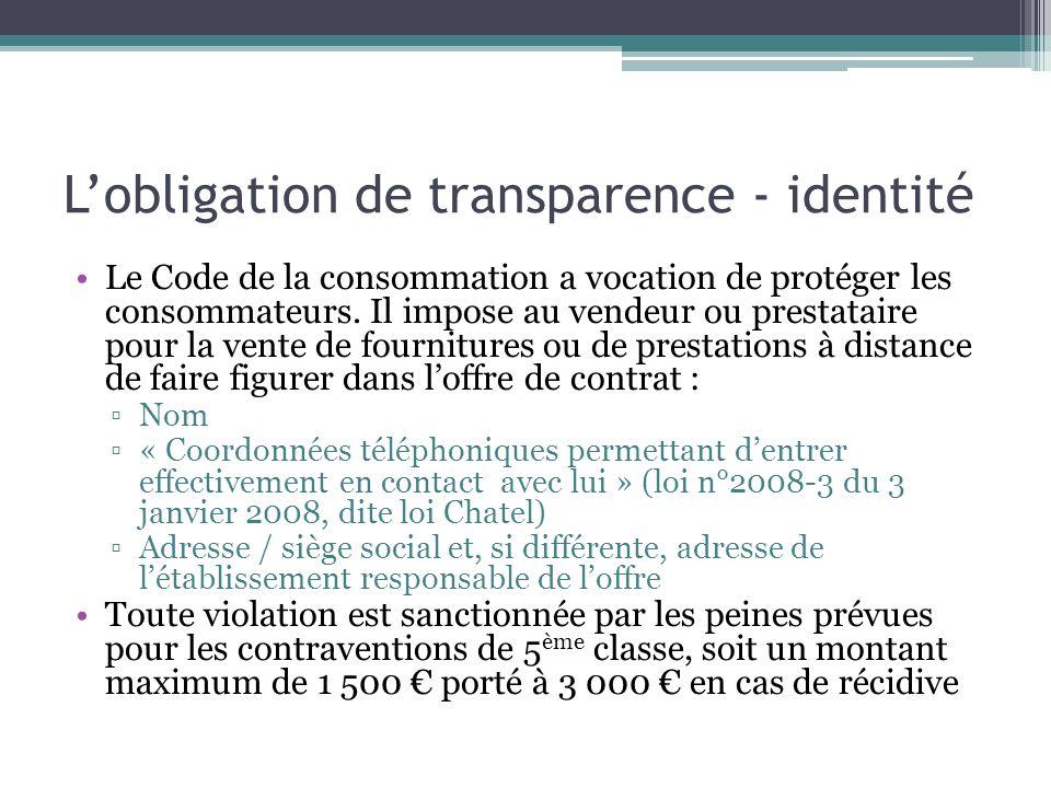 L'obligation de transparence - identité