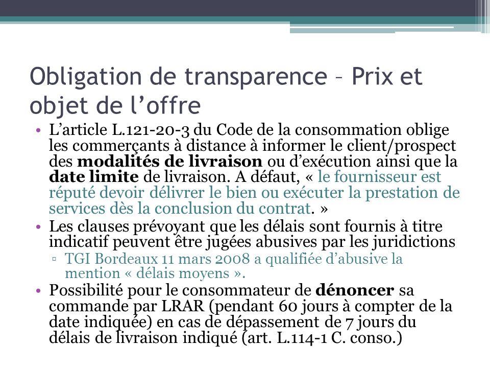 Obligation de transparence – Prix et objet de l'offre