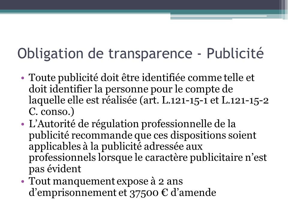 Obligation de transparence - Publicité