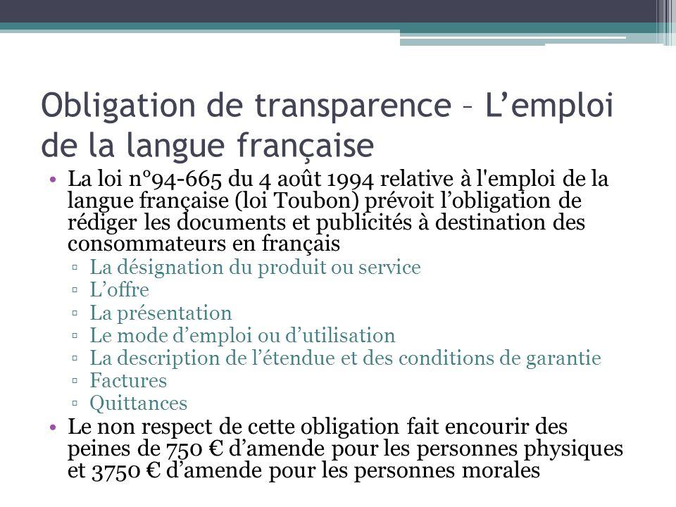 Obligation de transparence – L'emploi de la langue française