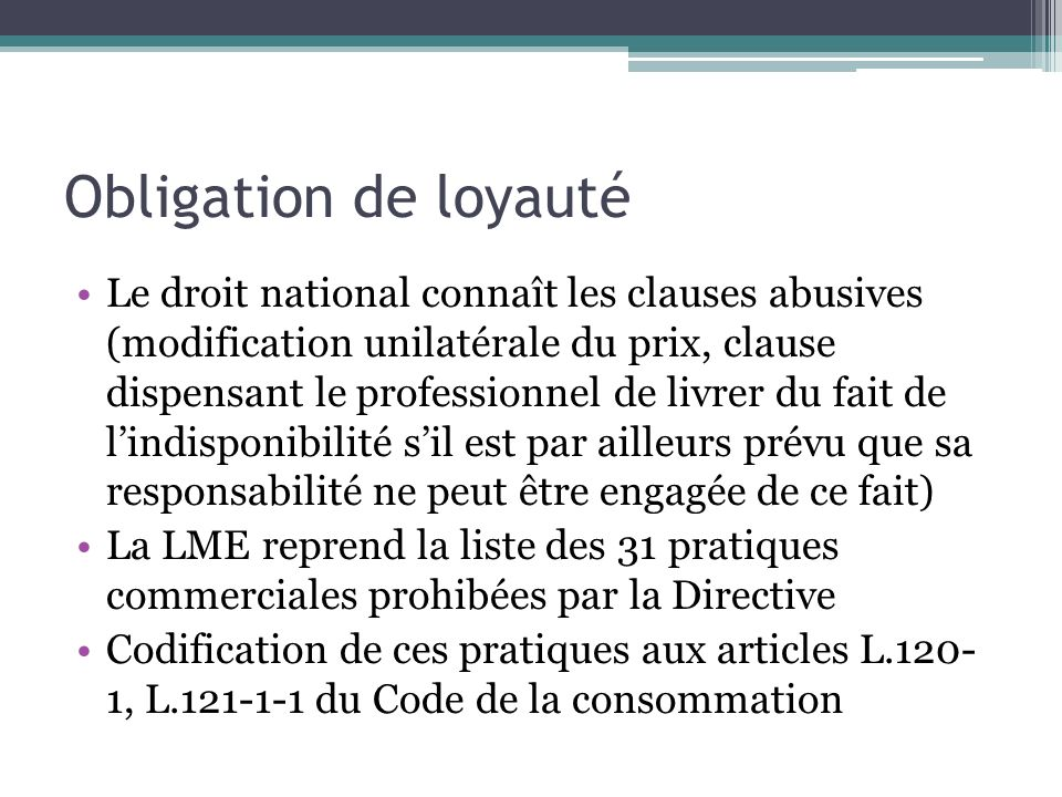 Obligation de loyauté