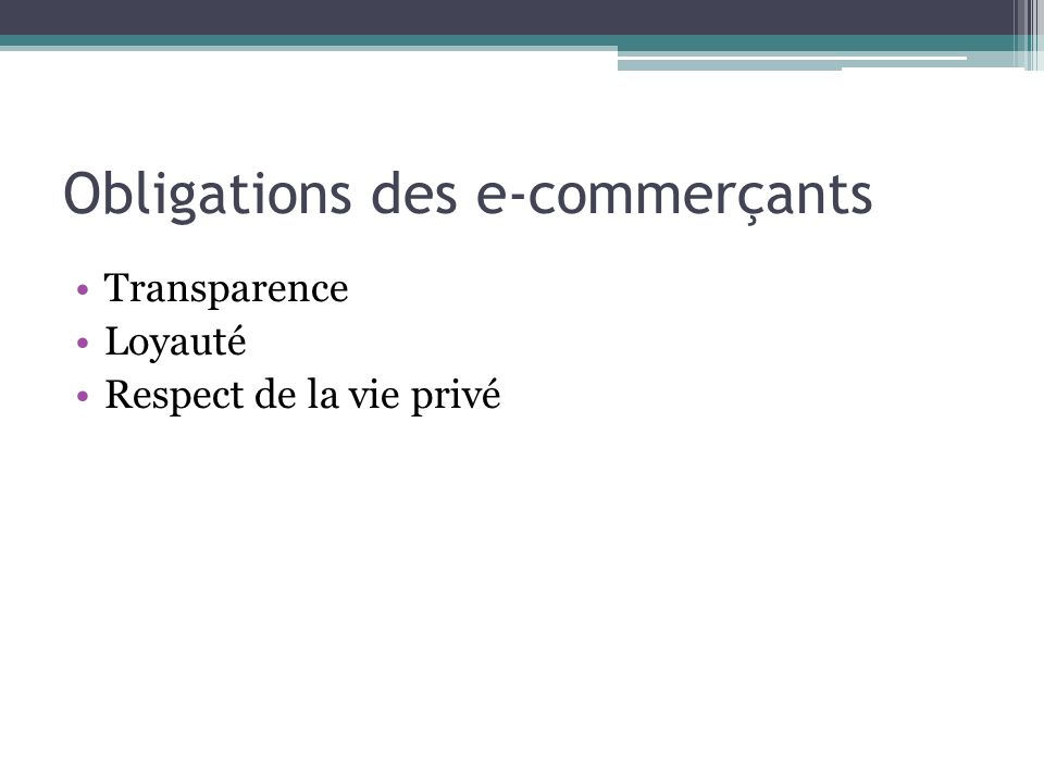 Obligations des e-commerçants
