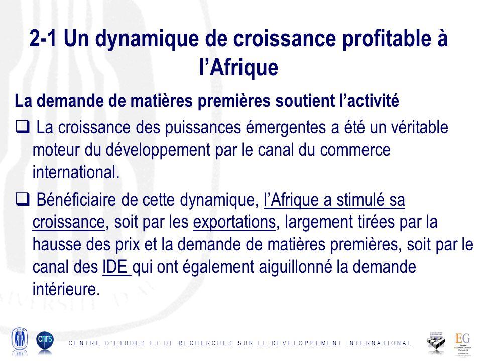 2-1 Un dynamique de croissance profitable à l'Afrique
