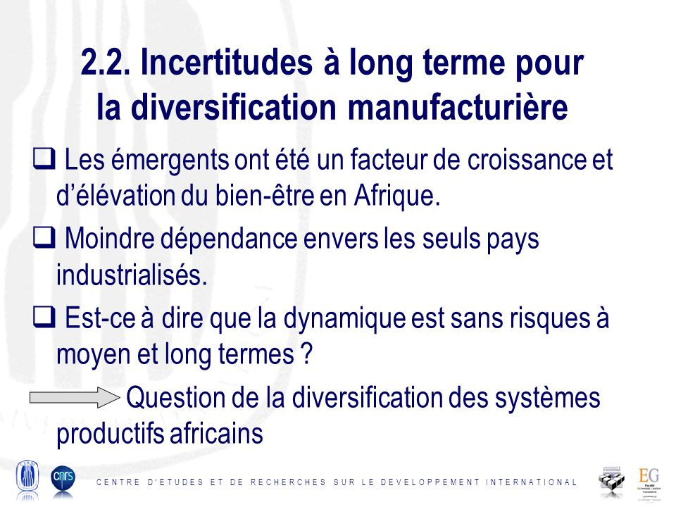 2.2. Incertitudes à long terme pour la diversification manufacturière