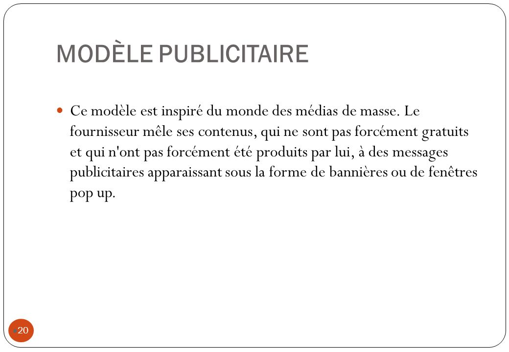 MODÈLE PUBLICITAIRE