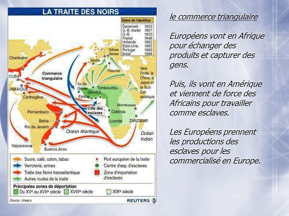 le commerce triangulaire Européens vont en Afrique pour échanger des produits et capturer des gens.