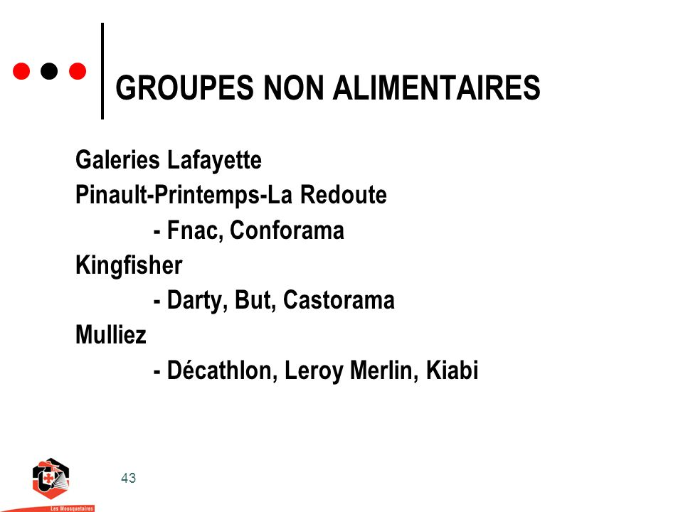 GROUPES NON ALIMENTAIRES